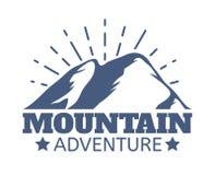 Hand drawn Mountains Logo set. Ski Resort vector icons, mountain silhouette elements. Ride and Snowboarding symbols. Vintage Hand drawn Mountains Logo set. Ski Stock Illustration