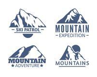 Hand drawn Mountains Logo set. Ski Resort vector icons, mountain silhouette elements. Ride and Snowboarding symbols. Vintage Hand drawn Mountains Logo set. Ski Royalty Free Illustration