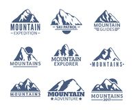 Hand drawn Mountains Logo set. Ski Resort vector icons, mountain silhouette elements. Ride and Snowboarding symbols Stock Image