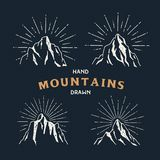 Hand Drawn mountains. Set of travel sketch illustration. Stock Photography
