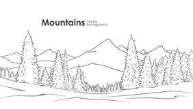 Hand drawn Mountains sketch background with pine forest on foreground. Line design. Vector illustration: Hand drawn Mountains sketch background with pine forest royalty free illustration