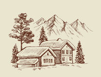 Hand drawn mountains Stock Photography