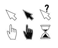 Hand drawn mouse cursors icons pointers arrow Stock Images