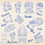 Hand Drawn Movie Icon Set Stock Image