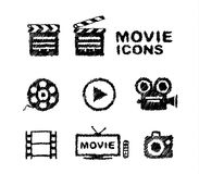 Hand drawn movie icon set isolated on white Stock Images