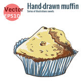 Hand-drawn muffin, isolated on a white background Stock Image