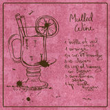 Hand drawn Mulled Wine cocktail Royalty Free Stock Images
