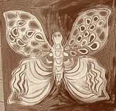 Hand drawn multicolored utterfly Royalty Free Stock Photography