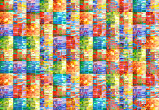 Hand drawn multicolored watercolor pattern. Handmade geometric background of colored squares. Or pixels Stock Photo