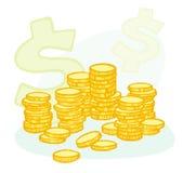 Hand-drawn muntstukstapels en geldsymbolen Stock Afbeeldingen