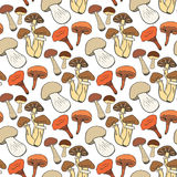 Hand drawn mushrooms seamless pattern in color Royalty Free Stock Photo