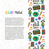 Hand drawn music border. Music sketch colorful icons . Template for flyer, banner, poster, brochure, cover. Postcards, web page, festival or concert decoration Stock Images