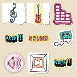 Hand drawn music emblems set. Isolated Stock Photos