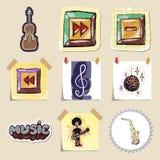 Hand drawn music emblems set. Isolated Royalty Free Stock Photo
