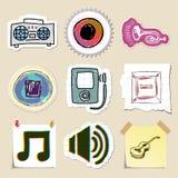 Hand drawn music emblems set. Isolated Stock Photo