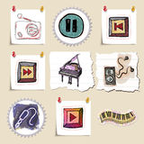 Hand drawn music emblems set. Isolated Royalty Free Stock Photos
