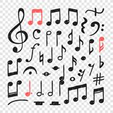 Hand drawn music notes illustration. Doodle set of symbols. Creative ink art work. Actual vector drawing stock illustration