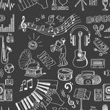 Hand drawn music pattern Stock Image