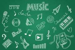 Hand drawn Music set. Chalk on the blackboard Royalty Free Stock Photo
