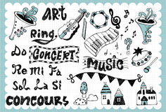 Hand drawn music set 01. Vintage illustration with music related words in hand drawn style and on the grid background. All text and illustration is hand-drawn Royalty Free Stock Photography