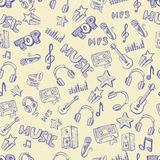 Hand drawn music. Vector hand drawn of music icons set Royalty Free Stock Photography