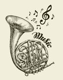 Hand-drawn musical french horn. Sketch vintage trumpet. Vector illustration Stock Image
