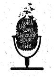 Hand drawn musical illustration with silhouette of microphone. Royalty Free Stock Photo