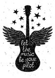 Hand drawn musical illustration with silhouettes of guitar. Stock Images
