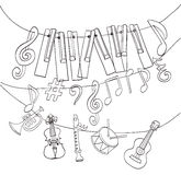 Hand drawn musical instruments Royalty Free Stock Photo