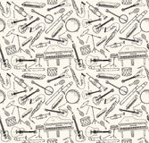 Hand drawn musical instruments. Stock Photos