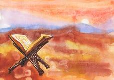 Hand drawn muslim background of koran, sunset, desert and mountain. Watercolor illustration of ramadan kareem and ramadan mubarak. Hand drawn background of koran Stock Photo