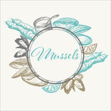 Hand drawn mussel. Vector vintage mussel on white background Stock Photos