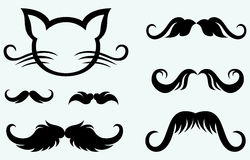 Hand drawn mustache and kitten Stock Images