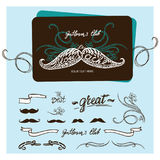 Hand drawn mustache with lettering and vignettes Royalty Free Stock Photography