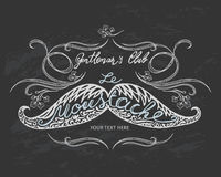 Hand drawn mustache with lettering and vignettes Stock Photo