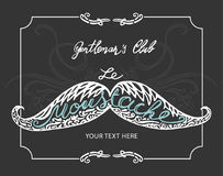 Hand drawn mustache with lettering and vignettes Stock Photography