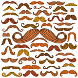 Hand drawn mustache set Royalty Free Stock Photo