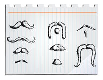 Hand drawn mustaches Stock Photos
