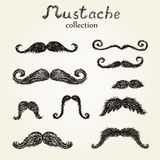 Hand drawn mustaches set Royalty Free Stock Images