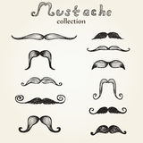 Hand drawn mustaches set Stock Photo