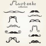 Hand drawn mustaches set Stock Photo