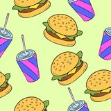 Hand-drawn naadloos Amerikaans snel voedselpatroon Vector illustratie stock illustratie