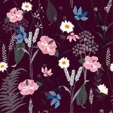 Hand-drawn naadloos botanisch patroon stock illustratie