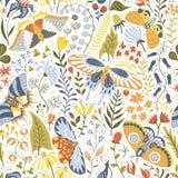 Hand-drawn naadloos patroon met installaties en vlinders Royalty-vrije Stock Foto's