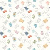 Hand-drawn naadloos patroon van kinderenkleren Stock Afbeeldingen