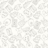 Hand-drawn naadloos patroon van kinderenkleren Stock Foto