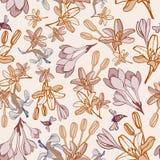 Hand-drawn naadloze patroon van de de zomerbloem Royalty-vrije Stock Foto