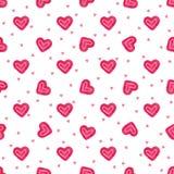 Hand-drawn naadloze patroon van waterverfliefjes Geschilderde vector romantische liefdeachtergrond Royalty-vrije Stock Foto's