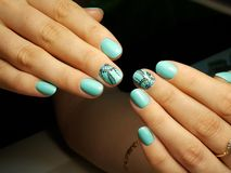 Hand drawn nail design royalty free stock photo