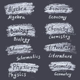 Hand drawn names of subjects at the university. Chalk on the bla Royalty Free Stock Photo